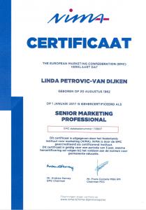 NIMA certificaat Senior Marketing Professional Linda Petrovic marketingadvies